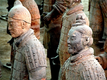 Soldiers from the Terracotta Army, interred by 210 BC, Qin Dynasty (221–206 BC)